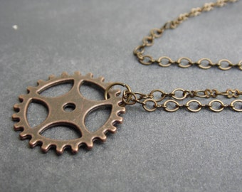 Gear necklace, Antique bronze gear necklace. Gear pendant , Unique necklace , Handmade jewellery