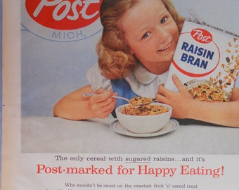 Post Raisin Bran Cereal ad.  1956 Post Raisin Bran ad.  Full color. Vintage Post cereal ad.   Life Magazine.  August 27, 1956.