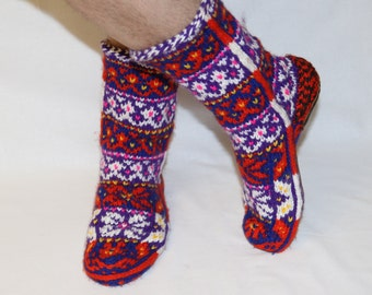 Free shipping, Mens knit socks, Multicolored mens socks, Wool mens socks, Mens gift, ethnic socks, socks for yoga, fitness socks