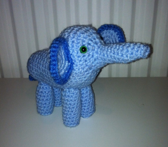 Amigurumi Elephant in Blue Crochet Handmade by AnthonyBrighton