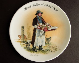 WEDGWOOD PLATE - Street Seller of Fried Fish by John Finnie