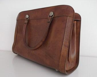 Vintage leatherette handbag - handbag of the 1970s, brown leather