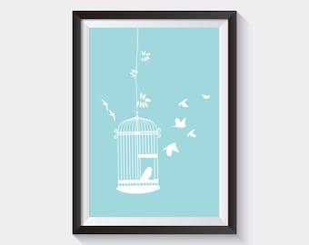 Instant Download 8x10 Blue Birdie Nursery Printable Wall Art