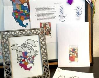 North America Cross Stitch Map KIT