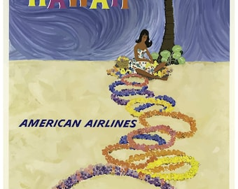 Vintage Hawaii American Airlines Travel Poster Print