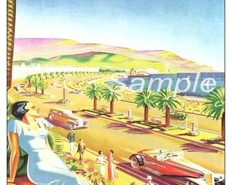 Vintage Nice France Travel Poster Print