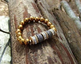 Women's Faceted Gold Pyrite Natural Bead Healing Bracelet Grounding Chakra Balancing Gemstones Designer Yoga Boho Trendy Sexy