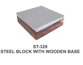 "PARUU® steel block 4"" on wooden base st329"
