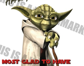 Handmade Yoda Star Wars Father's Day Card - most glad to have you as a father, I am