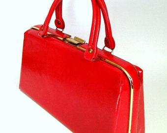 Lipstick Red Mod Handbag with Gold Trim Vintage 1960s Faux Leather