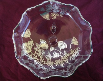 Silver City Glass Sterling Silver on Crystal Overlay Flanders Pattern 9 Inch Scalloped Footed Bowl