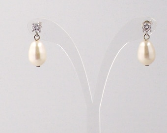 Adine Sterling Silver Earrings with Swarovski Pearl and Cubic Zirconia