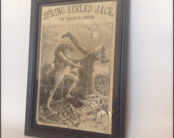 Spring Heeled Jack aged reproduction Victorian print in frame.