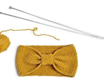 Fine Merino 100% natural for woman or child mustard 10cm yellow wool headband