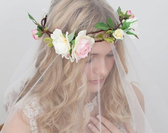 Flower Crown with pink and yellow Roses