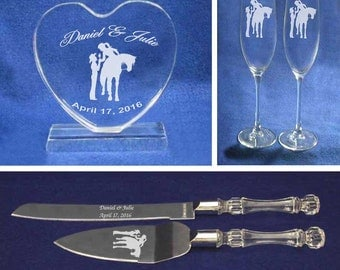 Western Cowgirl Cowboy Wedding Cake topper, Glasses & Knife set