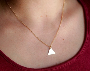Brass Triangle Necklace, Triangle Charm Necklace, Gold Charm Necklace, Gold, Brass, Graduation, Wedding, Bridesmaid, Love, Sale