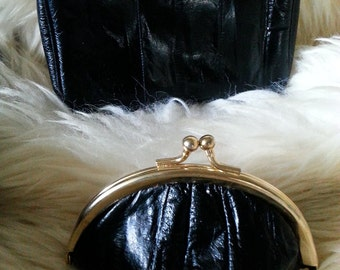 EEL SKIN Mirrored  Clutch and Change Purse