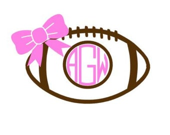 Football Bow Vinyl Monogram!  Football Mom, Football Sister Cheer Monogrammed Decal Perfect for Cars, Yetis, Water Bottles or Shirt Iron On!