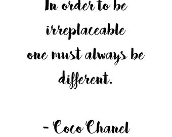 Coco Chanel Quote Print Digital Download Instant