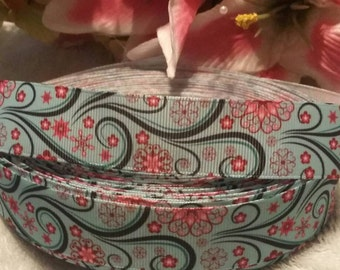 "3 yards,  1"" turquoise design with pink flowers grosgrain ribbon."
