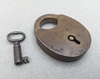 Vintage Brass Padlock w/Key