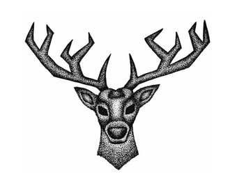 Geometric Stag Head, Stippling Black And White Ink Drawing, A4 Giclee Print