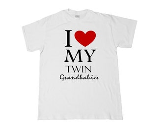 I <3 My Twin Grandbabies (front) #ProudGrandma/Grandpa (back) Shirt for Grandparents! Choose heart color and style needed. See Pics!