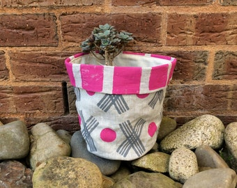 Pink Grey Knots & Crosses Linen Storage Bin / Basket