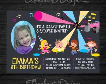 Dance Party Birthday Invitation, photo, Disco invitation, Dance party invitation, kids, dancing, 6, 7, custom invite, digital, DIY Printable