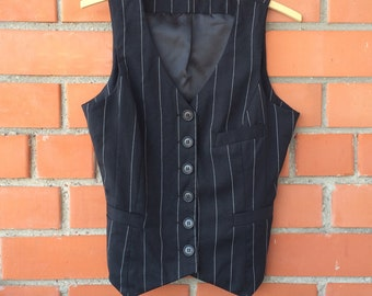 Womens Vest Black Stripped Vest Wool Vest Women's Vest Steampunk Formal Waistcoat Fitted Waistcoat Edwardian Victorian Size Medium to Large