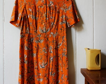 Vintage 1980's orange floral dress - Small to Medium