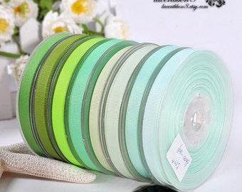 "100 Yards - 3/8"" Grosgrain Ribbons, Green Grosgrain Ribbons, Double Faces, Ribbon Supplier Wholesales"