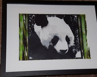 Panda handcut in paper