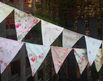 Bunting, flags or banner for child's bedroom, garden, birthday in shabby chic fabric in Princess Rose 2015