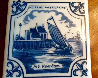 Vintage Holland American Line Souvinier, MS Noordam Souvinier, Blue and White Ceramic Tile/Trivet