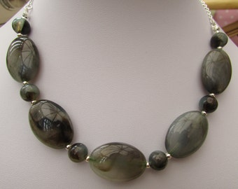 Large brown marble beaded necklace
