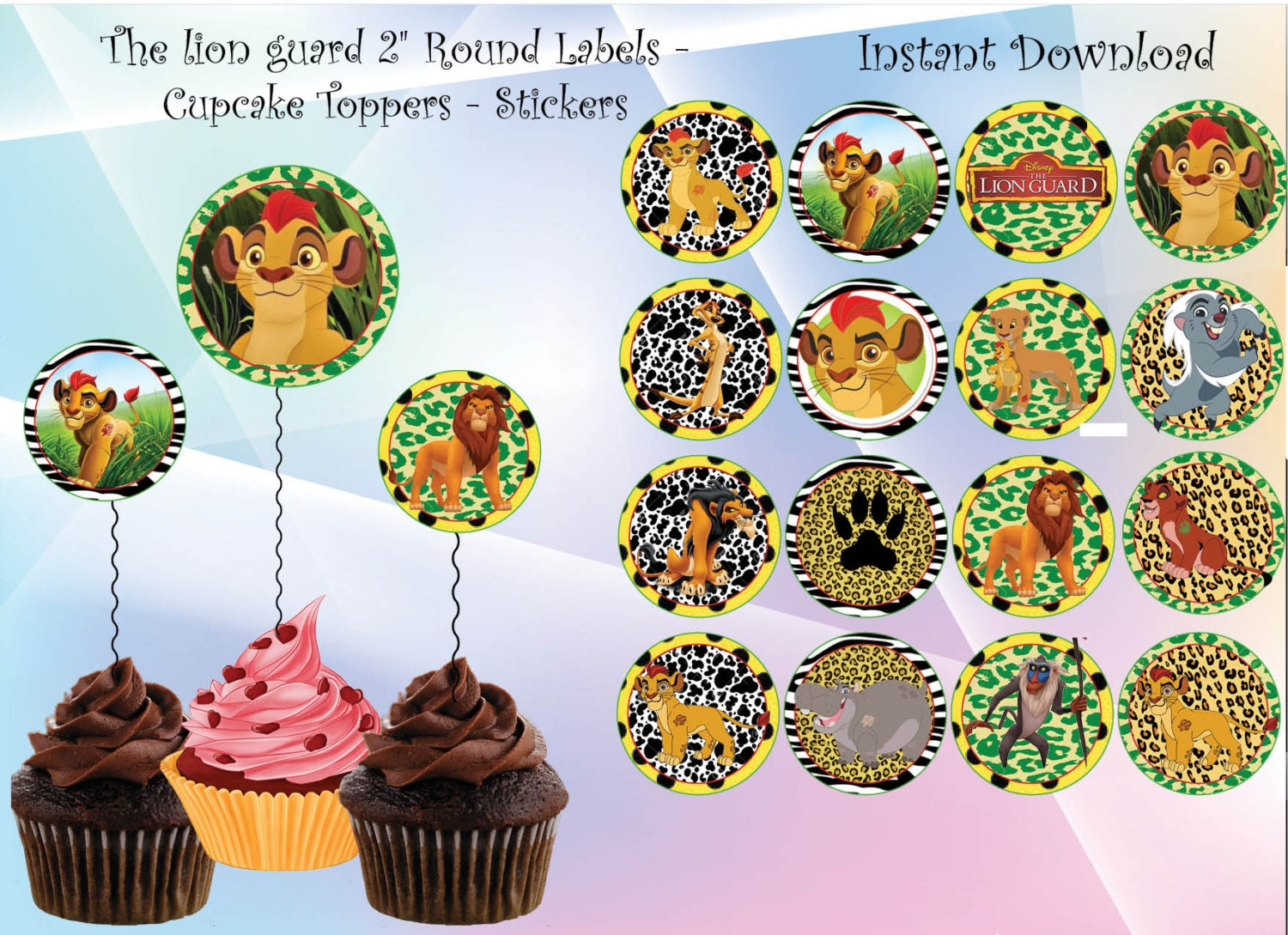 Instant DL The Lion Guard Cupcake Toppers