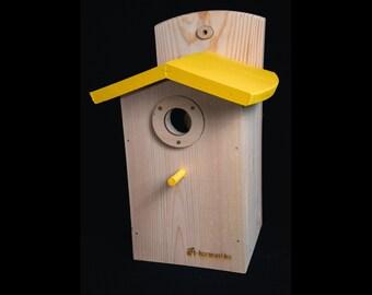 "Wooden Bird House ""Sunny"", Rustic Birdhouse, Chickadee Birdhouse, Chickadee Nesting Box, Handmade, Yellow"