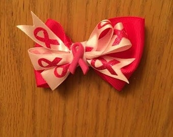 Breast cancer hair bow, bows for cancer, BCRF , breast cancer, pink hair bow , toddler hair bow, bow for toddler