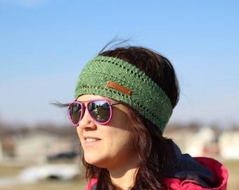 Knit Headband | Green Hairband | Knitted Ear Warmer  | Green Tweed Headwrap | Knitted  Turban | Head Warmer