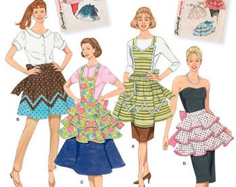 Sewing Pattern for 1950's Vintage Aprons, Four Styles,  Simplicity 2592, Simplicity Archives Pattern, Bib Aprons, Ruffled Aprons