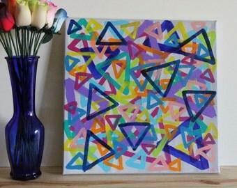 Triangle Art, Geometric Art, Abstract Art, Abstract Painting, Rainbow Art, Colorful Art, Home Decor, Acrylic Painting, 12x12 Canvas