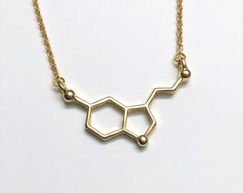 Serotonin (happy) molecule Necklace