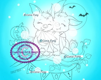 SALE- Digital Stamp, Digi Stamp, digistamp, Bats Friends by Conie Fong, Halloween, Bat, children, coloring page