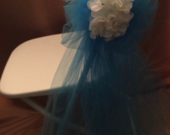 WEDDING BOW TEAL Tulle Ideal For Elegant Floral Decorations  Sold In Sets Of 6