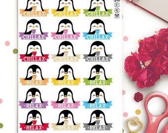 Relax Penguins Planner Stickers | Animal Stickers | Kawaii Stickers | Relax Stickers