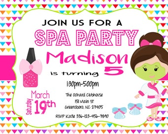 Spa Invitation, Spa Birthday invitation, Spa Birthday theme