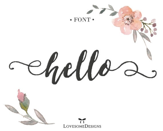 Hello script inch font embroidery design by lovesomedesigns