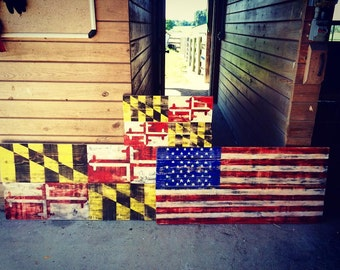 Wooden Maryland or American Flags
